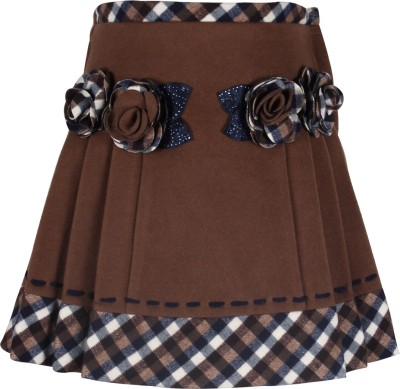 Cutecumber Checkered Girl's A-line Brown Skirt