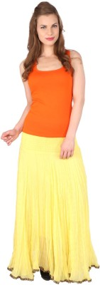Grand Store Solid Women's Gathered Yellow Skirt