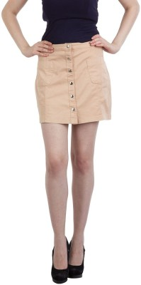 FASHIONHOLIC Solid Women's Pencil Beige Skirt