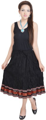 UFC Mart Embroidered Women's Regular Black Skirt
