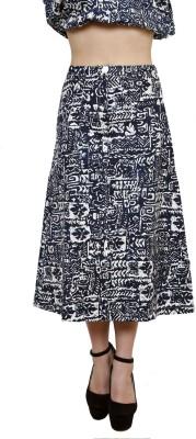 Gossip Girls Printed Women's A-line Blue Skirt