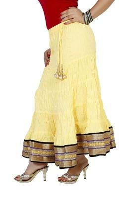 Sringar Solid Women's Regular Yellow Skirt