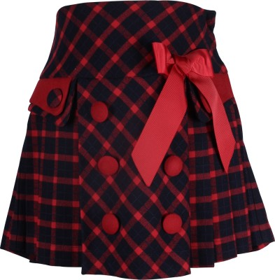 Cutecumber Checkered Baby Girl's A-line Red Skirt