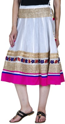 Ooltah Chashma Embellished Women's A-line White, Pink Skirt