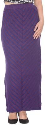 Colors & Blends Striped, Self Design Women's Tube Purple Skirt