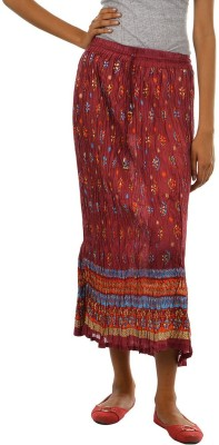 Fashiana Floral Print Womens Regular Maroon Skirt