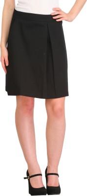 Cottinfab Solid Women's Pleated Black Skirt at flipkart