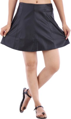 Urban Religion Solid Women's A-line Black Skirt