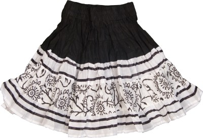 Retaaz Self Design Girl's Broomstick Black, White Skirt