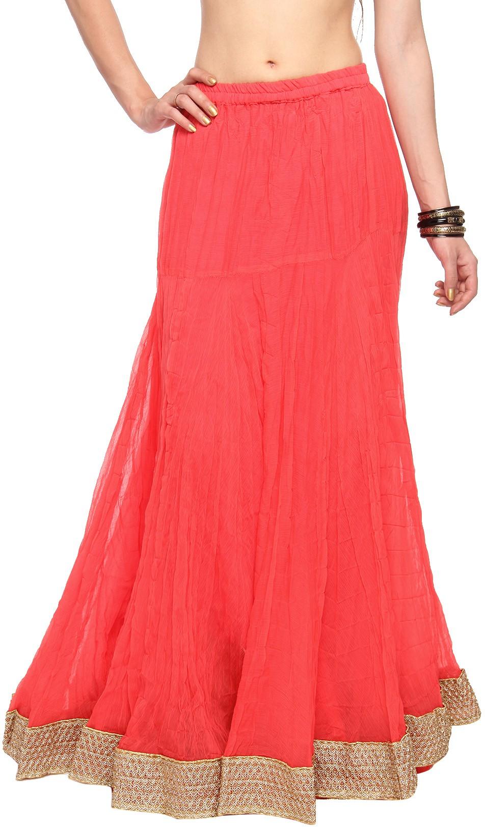 Mina Bazaar Solid Womens A-line Orange Skirt