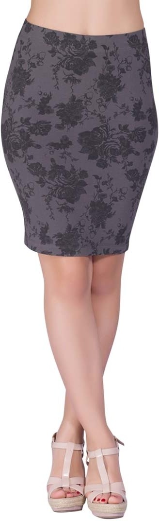 Voustyle Printed Womens Tube Grey Skirt