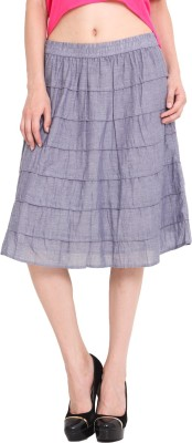Studio West Solid Women's Regular Blue Skirt