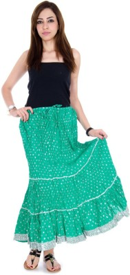Ooltha Chashma Self Design Women's Broomstick Green Skirt