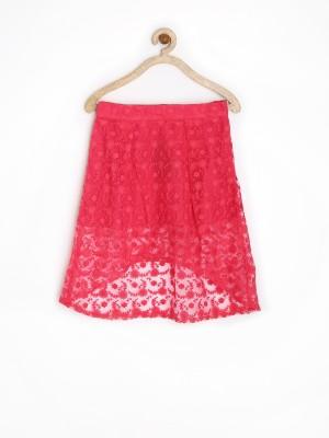 Yellow Kite Solid Girl's Asymetric Pink Skirt