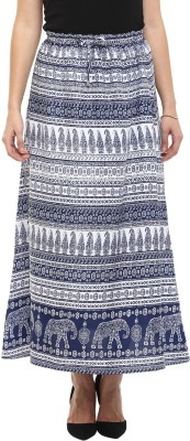 COLOR COCKTAIL Printed Women's A-line Blue Skirt