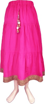 Sweet Angel Self Design Girl,s Pleated Pink Skirt