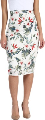 Miss Chase Floral Print Women's Pencil Multicolor Skirt