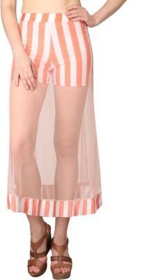 Shararat Printed Women's Straight Orange, White Skirt