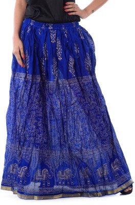 Patterns Lets Create Printed Women's Gathered Blue Skirt