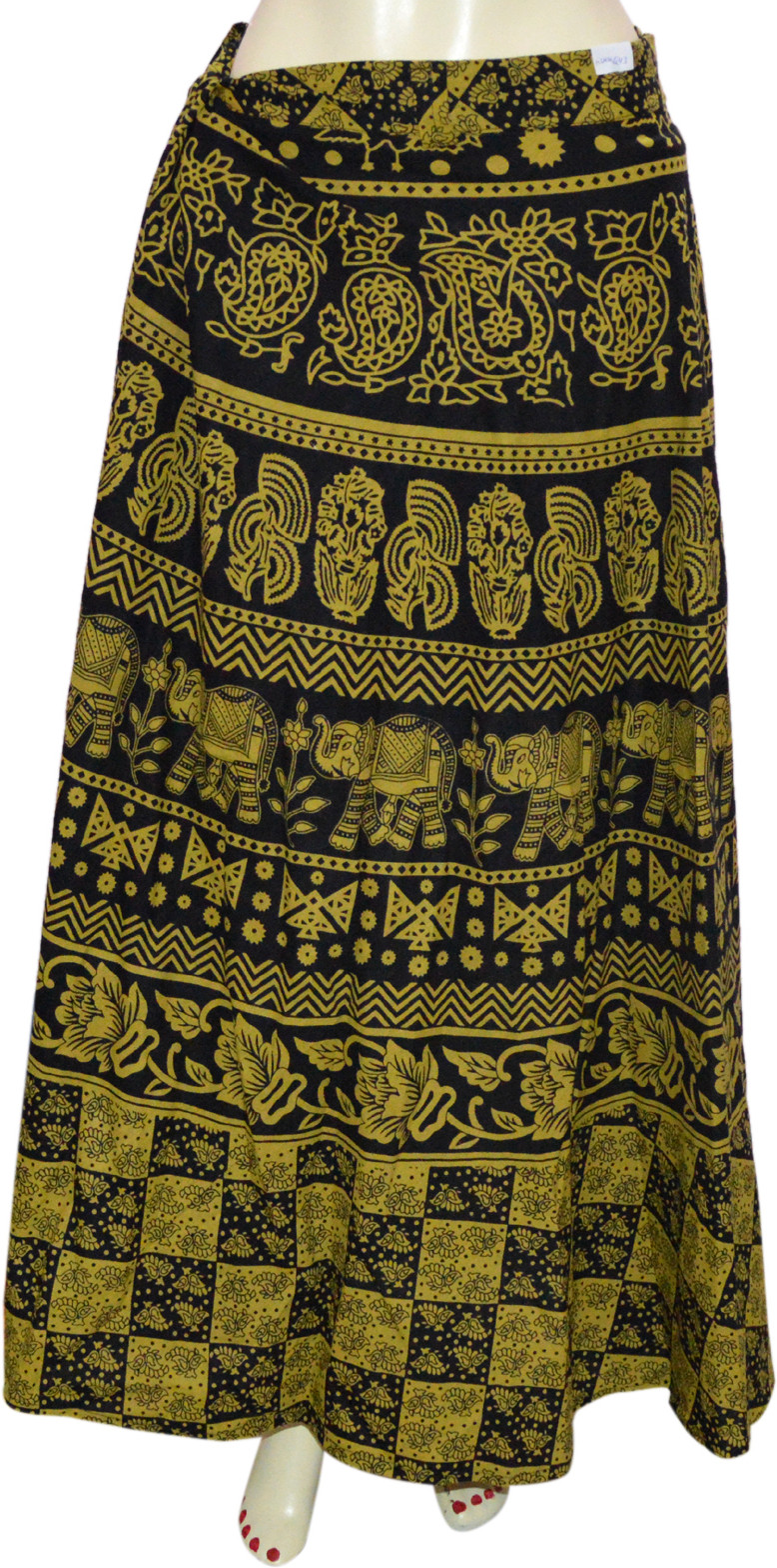 Marusthali Printed Womens Wrap Around Yellow, Black Skirt