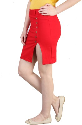Showoff Solid Women's Pencil Red Skirt