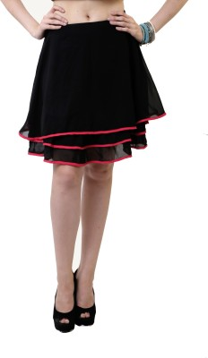 Belle Fille Solid Women's A-line Black Skirt