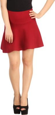 N-Gal Solid Women's Straight Maroon Skirt