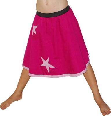 Aummade Self Design Girl's A-line Pink Skirt