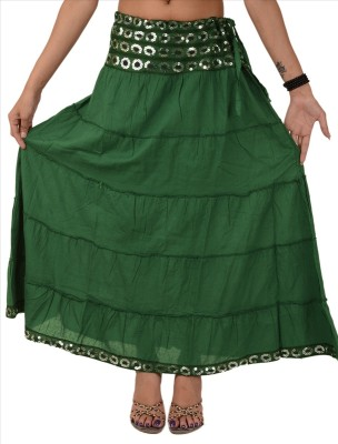 Skirts & Scarves Solid Women's Tiered Green Skirt