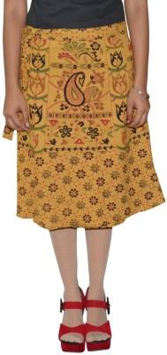Shreeka Printed Women's Wrap Around Yellow, Black Skirt