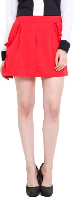 Ridress Solid Women's Pleated Red Skirt