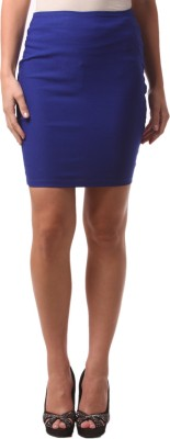 FashionExpo Solid Women's Straight Blue Skirt