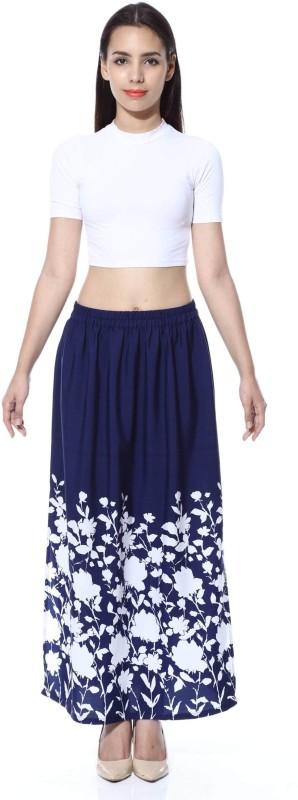 FabnFab Floral Print Women's Pencil Blue, White Skirt