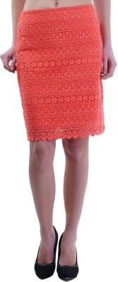 Merch21 Self Design Women's Regular Red Skirt