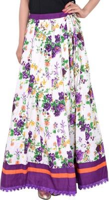 Bright & Shining Floral Print Women's Pleated Purple Skirt