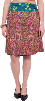 Tuntuk Printed Women's A-line Pink Skirt
