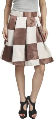 Naitik Printed Women's Regular White, Brown Skirt