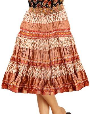 Jaipur Raga Printed Women's Regular Orange Skirt