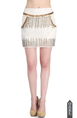Ozel Embellished Women's Regular White, Gold Skirt