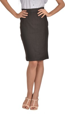 Bombay High Solid Women's Pencil Grey Skirt