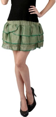 Textures Fashion Solid Women's Tiered Green Skirt