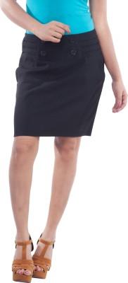 TrendBAE Solid Women's Pencil Black Skirt