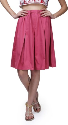GarrB Solid Women's Pleated Pink Skirt