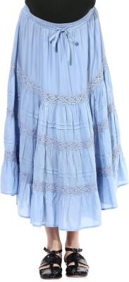 Oxolloxo Solid Women's A-line Blue Skirt at flipkart