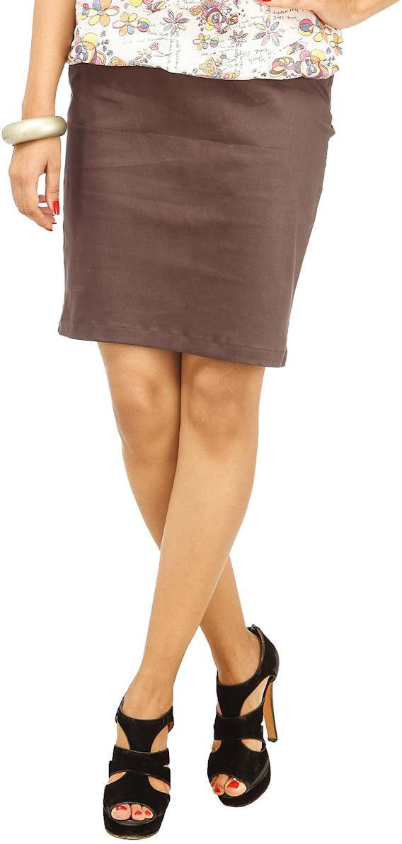 Cottinfab Solid Womens Straight Brown Skirt
