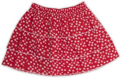 Nino Bambino Floral Print Girl's Layered Red Skirt
