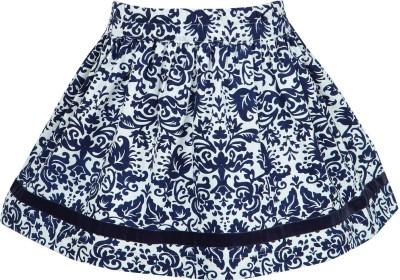 Nino Bambino Printed Girl's Gathered Blue, White Skirt