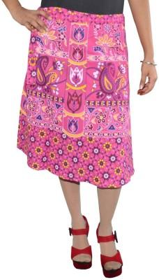 Shreeka Printed Women's Wrap Around Pink, Yellow Skirt