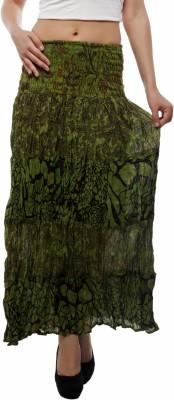 Indi Bargain Floral Print Women's A-line Green Skirt