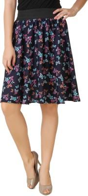 Mojeska Printed Women's A-line Blue Skirt
